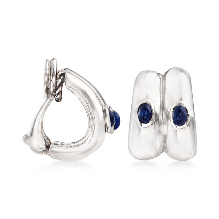 C. 1990 Vintage Assael .75 ct. t.w. Sapphire Clip-On J-Hoop Earrings in 18kt White Gold