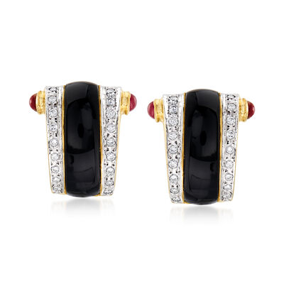 C. 1980 Vintage Black Onyx, .80 ct. t.w. Ruby and .50 ct. t.w. Diamond Clip-On Earrings in 14kt Yellow Gold, , default