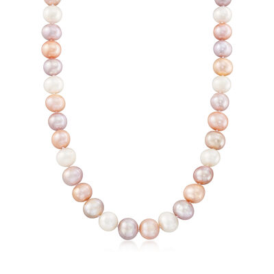 10-12mm Multicolored Cultured Pearl Necklace with Sterling Silver