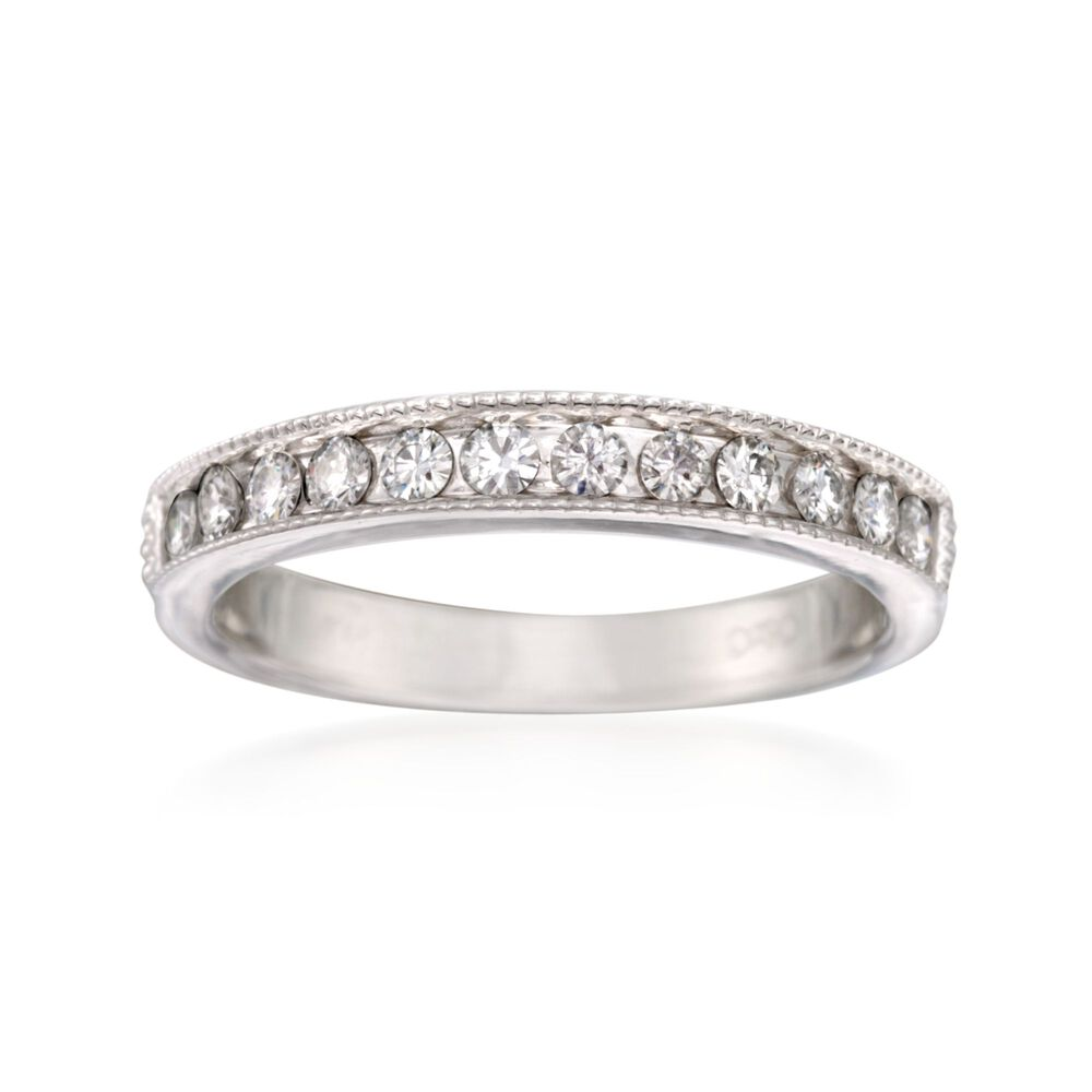 T W Synthetic Moissanite Wedding Ring In 14kt White Gold Default