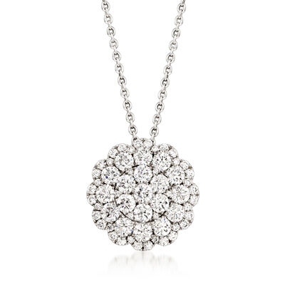 3.12 ct. t.w. Diamond Floral Pendant Necklace in 14kt White Gold