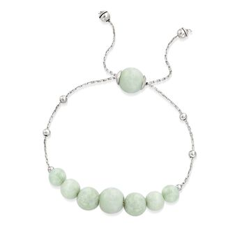 Graduated Green Jade Bead Bolo Bracelet in Sterling Silver, , default