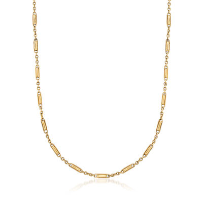 C. 1980 Vintage 14kt Yellow Gold Fancy-Link Chain Necklace
