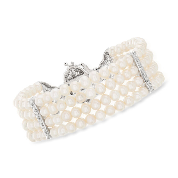 4.5-5mm Cultured Pearl and .15 ct. t.w. Diamond Multi-Strand Bracelet in Sterling Silver