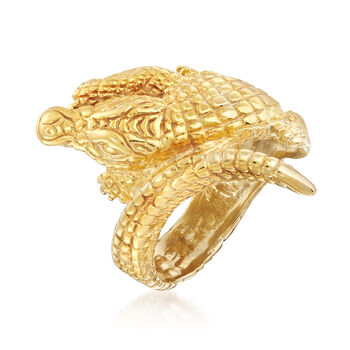 Italian 18kt Gold Over Sterling Silver Alligator Bypass Ring