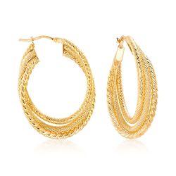 Italian 18kt Yellow Gold Textured Triple-Hoop Earrings, , default