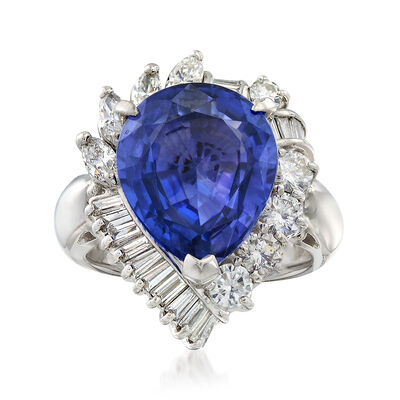 C. 1980 Vintage 8.71 Carat Tanzanite and 1.60 ct. t.w. Diamond Ring in Platinum, , default