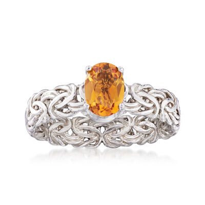 .80 Carat Citrine Byzantine Ring in Sterling Silver, , default