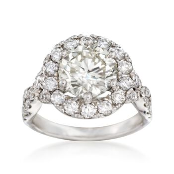 Majestic Collection 4.04 ct. t.w. Diamond Halo Ring in 14kt White Gold, , default