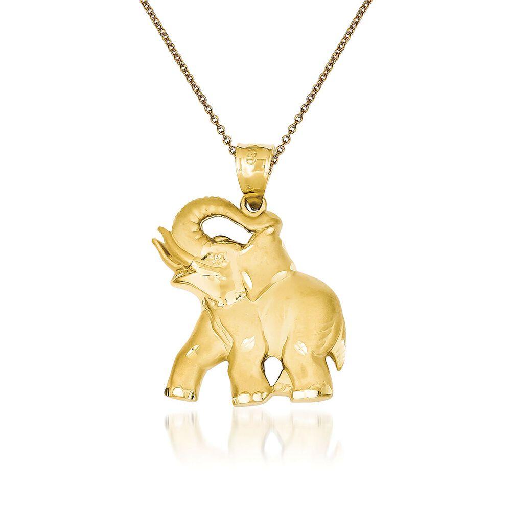 14kt yellow gold elephant pendant necklace 18 ross simons 14kt yellow gold elephant pendant necklace 18quot default aloadofball Choice Image