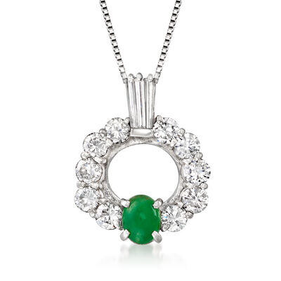 C. 1990 Vintage Jade and 1.50 ct. t.w. Diamond Pendant Necklace in Platinum