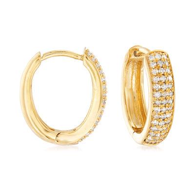 .25 ct. t.w. Diamond Hoop Earrings in 18kt Gold Over Sterling, , default