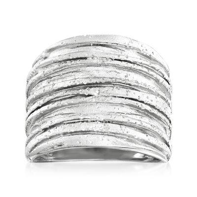 Italian Sterling Silver Sparkle Tree Bark Ring