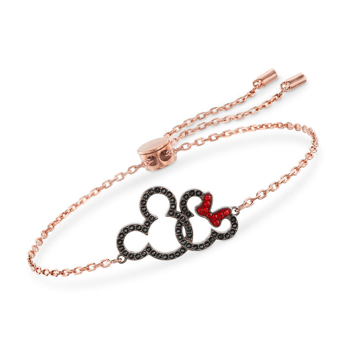 Swarovski Crystal Mickey and Minnie Mouse Bolo Bracelet in Rose Gold-Plated Metal. , , default
