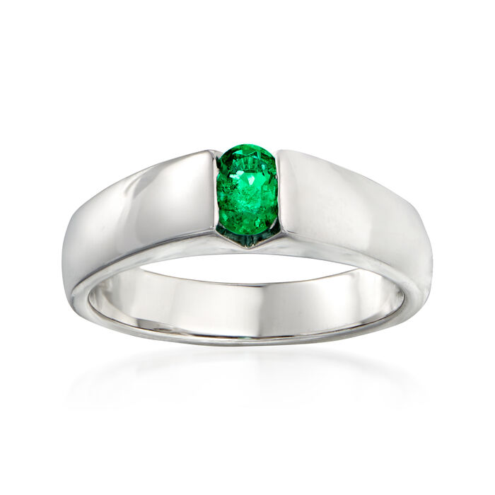 C. 1990 Vintage Salvini .30 Carat Oval Emerald Ring in 18kt White Gold. Size 6.5