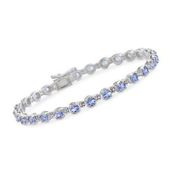 """4.50 ct. t.w. Tanzanite Tennis Bracelet in Sterling Silver. 7.5"""", , default"""