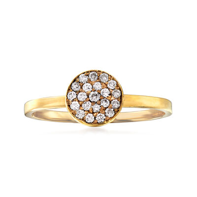 C. 1990 Vintage .20 ct. t.w. Pave Diamond Circle Ring in 14kt Yellow Gold, , default