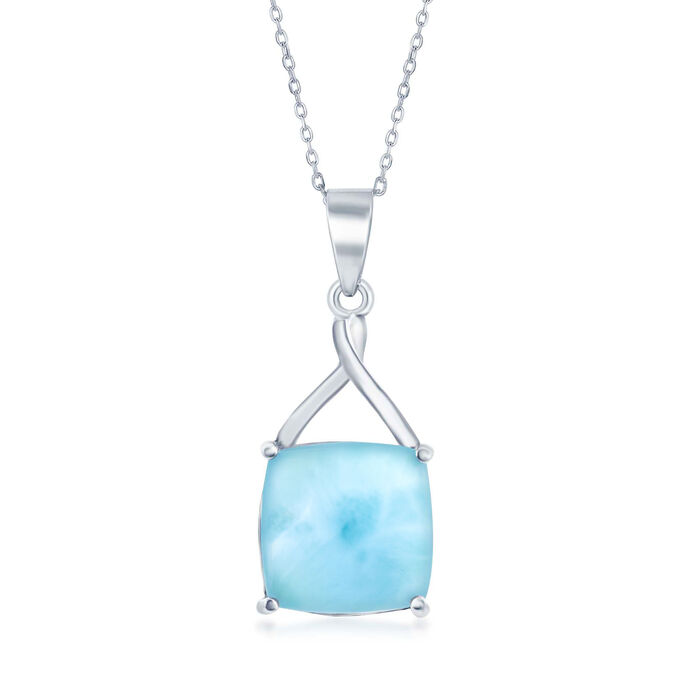 Cabochon Larimar Pendant Necklace in Sterling Silver. 18""