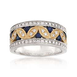 .62 ct. t.w. Diamond and .40 ct. t.w. Sapphire Leaf Ring in 14kt Two-Tone Gold, , default