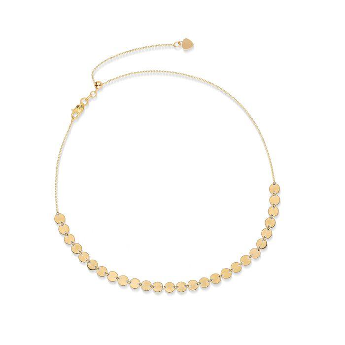 14kt Yellow Gold Multi-Disc Choker Necklace , , default
