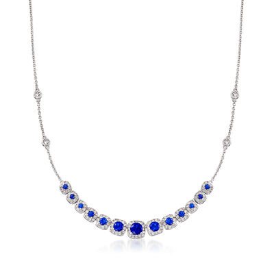 1.30 ct. t.w. Simulated Sapphire and 1.20 ct. t.w. CZ Necklace in Sterling Silver