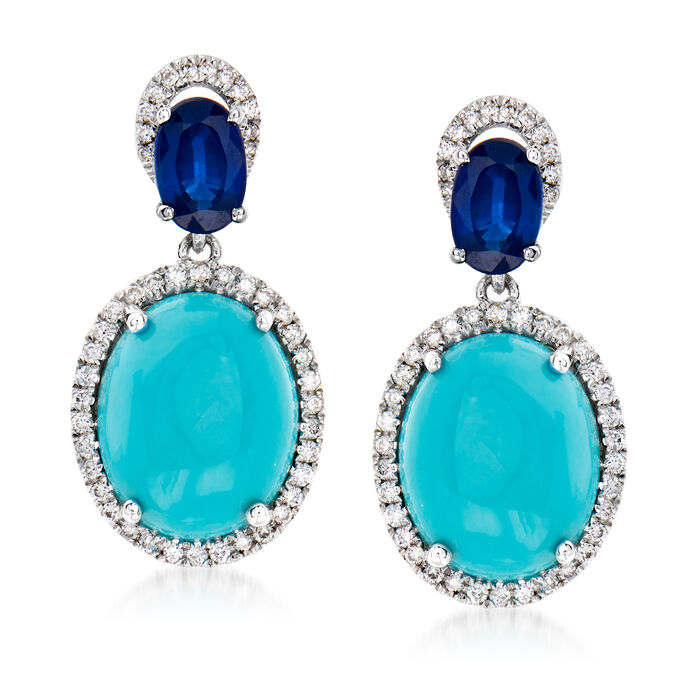 Turquoise, 1.10 ct. t.w. Sapphire and .32 ct. t.w. Diamond Drop Earrings in 14kt White Gold