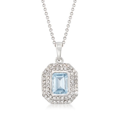 .90 Carat Aquamarine and .30 ct. t.w. Diamond Pendant Necklace in 14kt White Gold