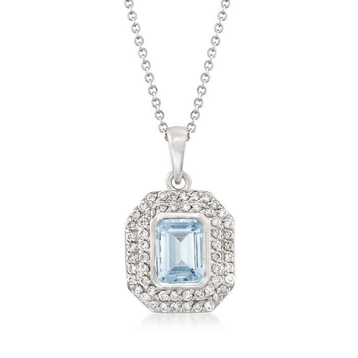.90 Carat Aquamarine and .30 ct. t.w. Diamond Pendant Necklace in 14kt White Gold
