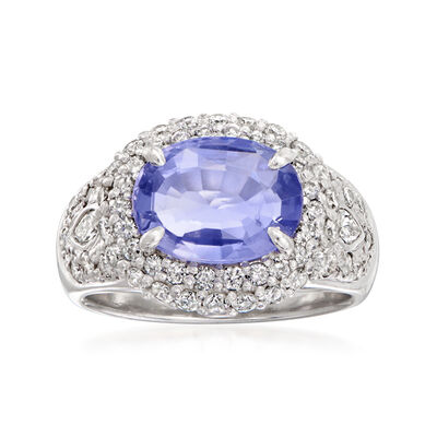 C. 1990 Vintage 2.14 Carat Certified Sapphire and .87 ct. t.w. Diamond Ring in Platinum