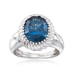 5.75 Carat London Blue Topaz Ring in Sterling Silver, , default