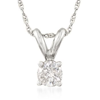 """.25 Carat Diamond Solitaire Necklace in 14kt White Gold. 18"""", , default"""