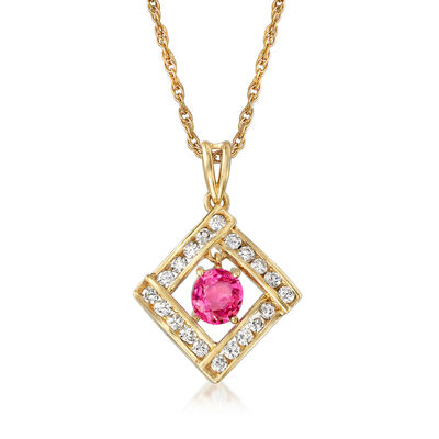 C. 2000 Vintage .90 Carat Pink Sapphire and .50 ct. t.w. Diamond Pendant Necklace in 14kt Yellow Gold, , default