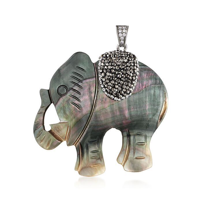 Mother-Of-Pearl Elephant Pendant with Multicolored Crystals and CZ Accents , , default