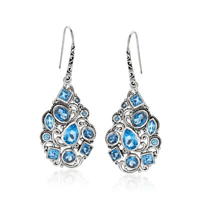 8.10 ct. t.w. Swiss and London Blue Topaz Mosaic Drop Earrings in Sterling Silver, , default