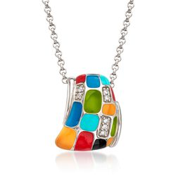"Belle Etoile ""Mosaica"" Multicolored Enamel and .20 ct. t.w. CZ Pendant in Sterling Silver, , default"