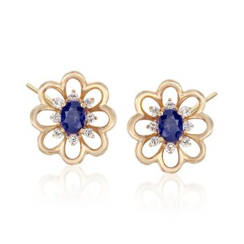 .40 ct. t.w. Sapphire and .15 ct. t.w. Diamond Flower Earrings in 18kt Yellow Gold, , default