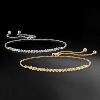.33 ct. t.w. Bezel-Set Diamond Bolo Bracelet in 18kt Gold Over Sterling, , default