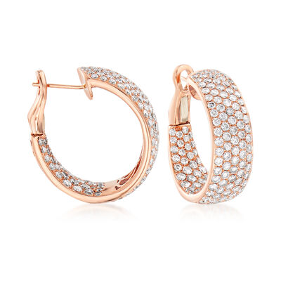 C. 2000 Vintage 6.54 ct. t.w. Diamond Inside-Outside Hoop Earrings in 14kt Rose Gold, , default