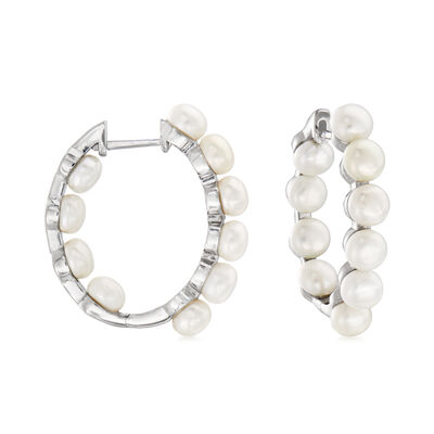 4.5-5mm Cultured Pearl Inside-Outside Hoop Earrings in Sterling Silver, , default