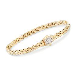 "Phillip Gavriel ""Woven Gold"" .13 ct. t.w. Pave Diamond Link Bracelet in 14kt Yellow Gold, , default"