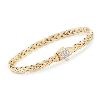 "Phillip Gavriel ""Woven Gold"" .13 ct. t.w. Pave Diamond Link Bracelet in 14kt Yellow Gold. 7.5"", , default"