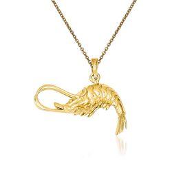 """14kt Yellow Gold Shrimp Pendant Necklace. 18"""", , default"""
