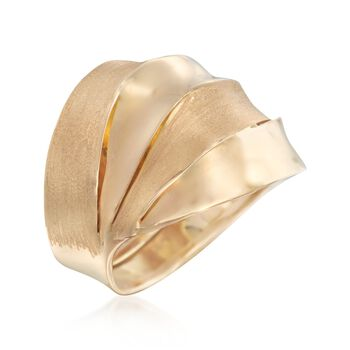 Italian 14kt Yellow Gold Ribbon Ring. Size 5, , default
