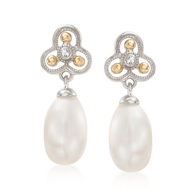 7.5-8mm Cultured Pearl Drop Earrings with White Topaz Accents in Sterling Silver and 14kt Yellow Gold, , default