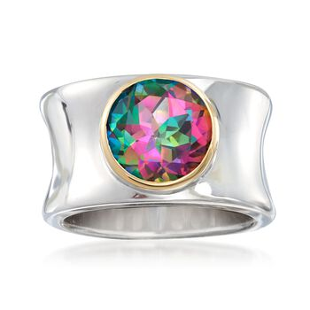 3.60 Carat Mystic Quartz Ring With 14kt Yellow Gold in Sterling Silver, , default