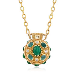 """C. 1990 Vintage 18.00 ct. t.w. Emerald and .59 ct. t.w. Diamond Necklace in 18kt and 22kt Yellow Gold. 20"""", , default"""