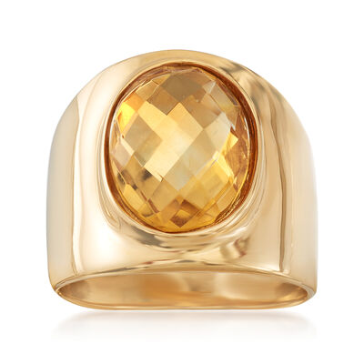 Italian 3.50 Carat Citrine Ring in 18kt Gold Over Sterling