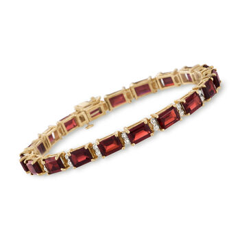 20.00 ct. t.w. Garnet and .25 ct. t.w. Diamond Tennis Bracelet in 14kt Yellow Gold, , default