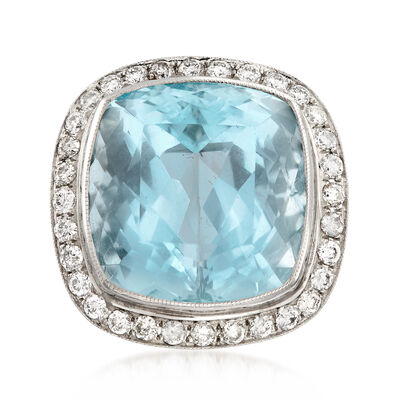 C. 1950 Vintage 14.60 Carat Aquamarine Ring with 1.00 ct. t.w. Diamonds in Platinum