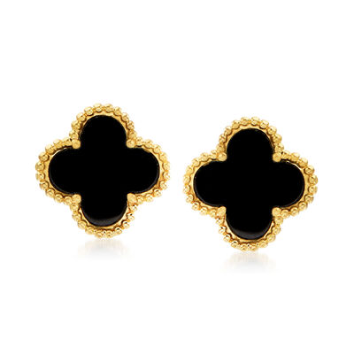 C. 2000 Vintage Onyx Flower Earrings in 18kt Yellow Gold